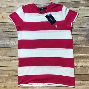 Ralph Lauren Sport-Pink & White Striped Top Sz L
